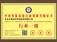 中国环保必威网站行业资质等级证书